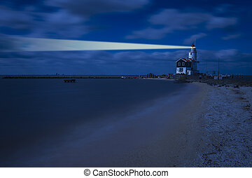 Night Landscape with Lighthouse