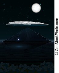 Night landscape with mountain and cloud and moon