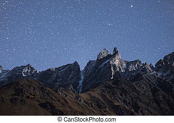 Night landscape with mountains - Night landscape. Mountain...