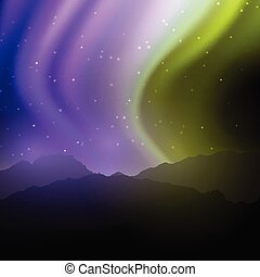 night landscape with northern lights sky 1205