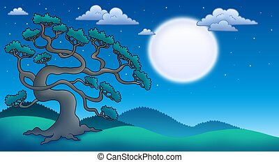 Night landscape with old pine tree