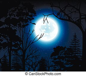Night landscape with starry sky and full moon on a background silhouettes of trees