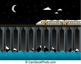 Night Landscape with Train and Bridge over the Sea. Ocean Waves and Moon on Sky.