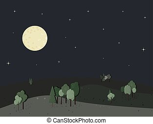 Night landscape with trees and moon. Vector illustration.