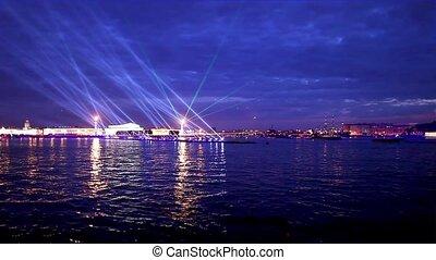 night laser show in St. Petersburg Neva river