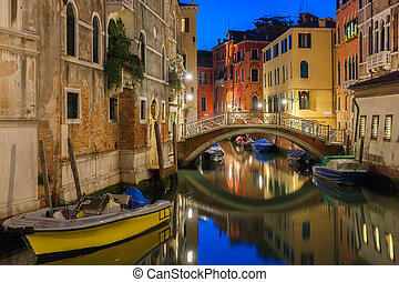 Night lateral canal and bridge in Venice, Italy - Lateral...
