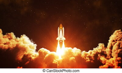 Night Launch Of Space Shuttle. Slow Motion. 4K. 3840x2160. UHD 3D Animation