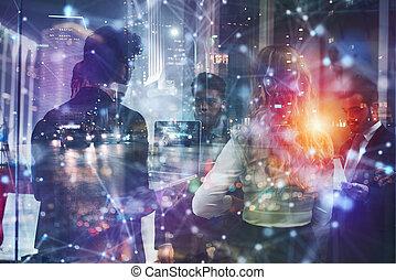 night., lavoro squadra, lavoro, partnership., insieme, ufficio, concetto, uomini affari