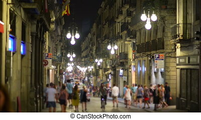 Night life in Barcelona, Spain