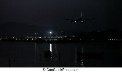 Night life of airport, Corfu airport, Greece. Tripod shot,...
