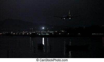 Night life of airport, Corfu airport, Greece. Tripod shot,...