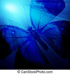 Night light with butterfly as abstract lights background