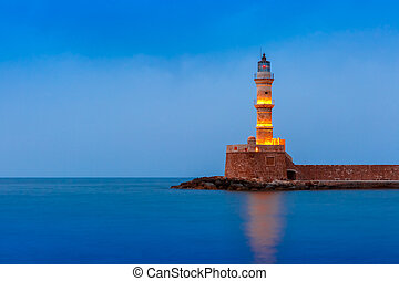 Night Lighthouse in old harbour, Chania, Crete