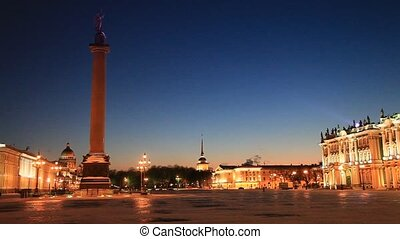 Night lighting of the Palace Square