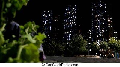 Night Lights Astana. Alternating focus. Kazakhstan. UltraHD...