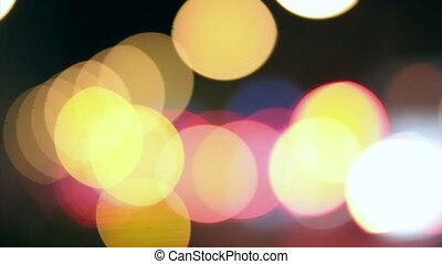 Night lights city blurred traffic
