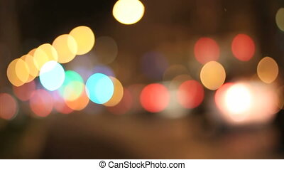 Night lights city blurred traffic