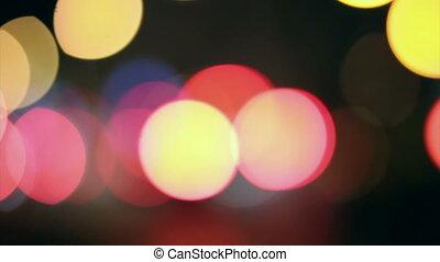 Night lights city blurred traffic. Defocused background....