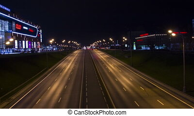 Night lights of Moscow. Highway traffic - Full HD video of...