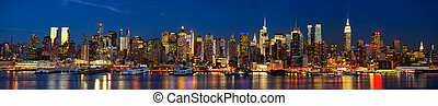 Night lights of New York - Manhattan Midtown skyline...