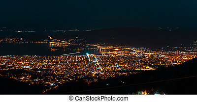 Night lights of the city from a bird's-eye view.