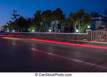 Night lights on the island of Mykonos Greece ....