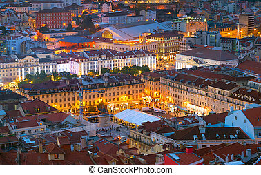 Night Lisbon downtown square Portugal