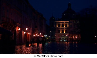 Lvov, Ukraine at nightfall. Lviv was founded by King Daniel of Galicia in the Ruthenian principality of Halych-Volhynia and named in honour of his son Lev.