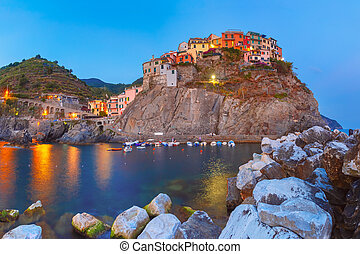 Night Manarola, Cinque Terre, Liguria, Italy - Night view of...