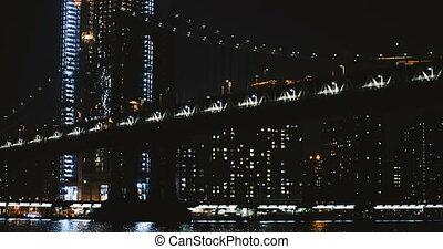 Night Manhattan Bridge timelapse 4K New York. Low angle view...