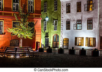 Night medieval street view in Sighisoara, Transylvania, Romania landmark