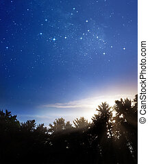 Night meets day - A picture of rising sun and fading stars ...