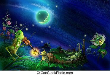 Night melody - The grasshopper plays on a violin. Raster...