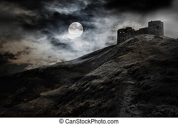 Night, moon and dark fortress black and white halloween...