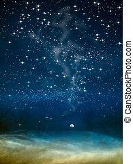night moon in big space