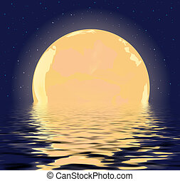night Moon - Moon against the starry sky reflected in water