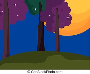night moon tree stars landscape cartoon
