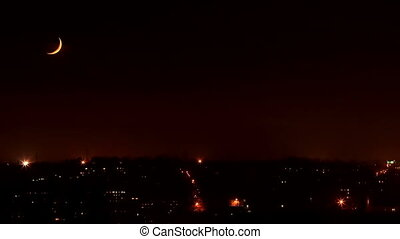 Night. Moonset in the city, Full HD. (Time Lapse)