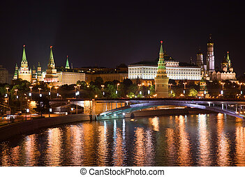 Night Moscow - View of the nighttime Moscow. The Moscow ...