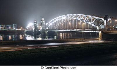 Night movement of machines on the bridge - Timelapse of...