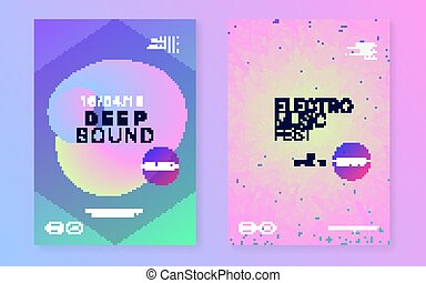 Club electronic deep techno music poster  musical event dj flyer