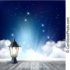 Night nature sky background with clouds and stars. Vector.