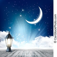 Night nature sky background with full moon, cloud and stars. Vector.