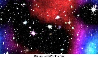 Night nebula on sky - Colored nebula on night sky with...