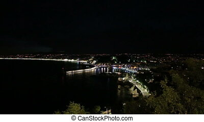 night Nice harbor France Cote d'Azu - DSLR Full HD...