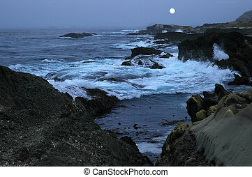Night time at the ocean, Calif coast