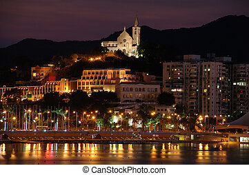 A night view of Macau and the Penha Hill