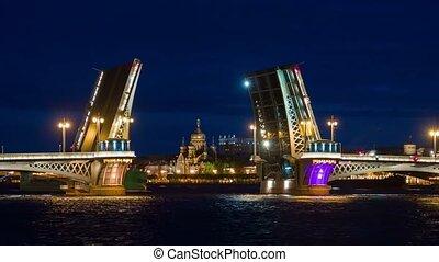Night of Opening Palace bridge in St. Petersburg, Russia.