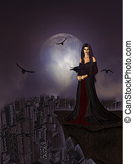 Night of the Ravens - Gothic woman standing on a ledge...