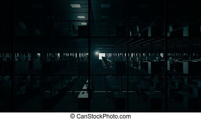 Night office cubicles